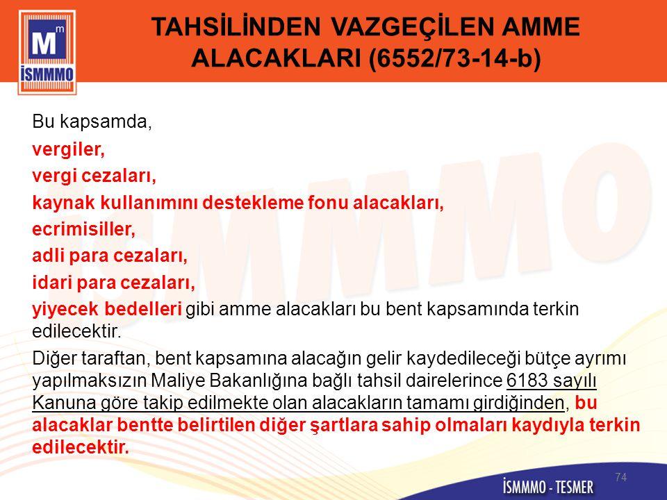 TAHSİLİNDEN VAZGEÇİLEN AMME ALACAKLARI (6552/73-14-b)