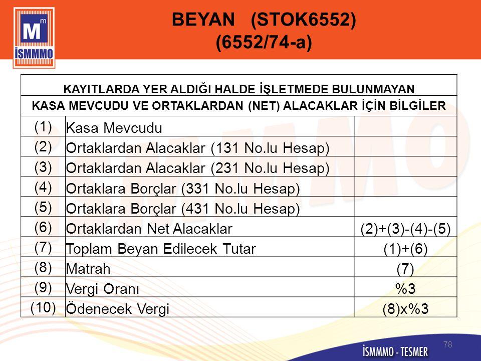 BEYAN (STOK6552) (6552/74-a) (1) Kasa Mevcudu (2)