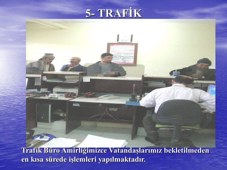 5- TRAFİK Trafik Büro Amirliğimizce Vatandaşlarımız bekletilmeden en kısa sürede işlemleri yapılmaktadır.