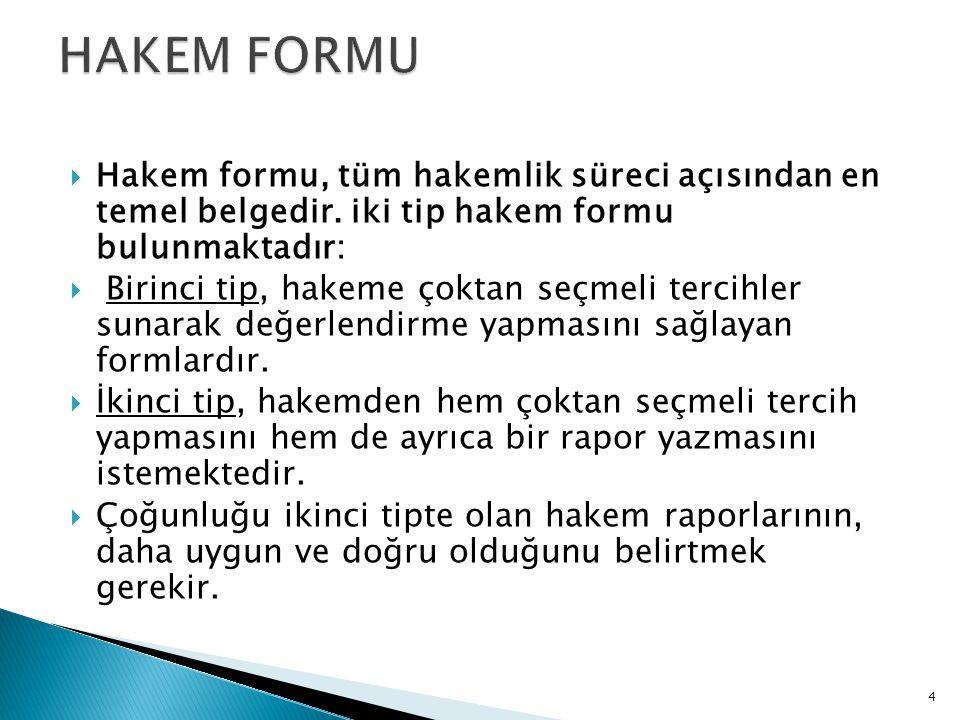 HAKEM FORMU Hakem formu, tüm hakemlik süreci açısından en temel belgedir. iki tip hakem formu bulunmaktadır: