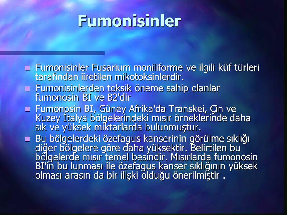 Fumonisinler Fumonisinler Fusarium moniliforme ve ilgili küf türleri tarafından iiretilen mikotoksinlerdir.