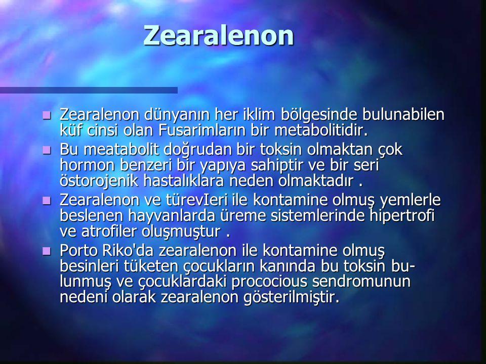 Zearalenon Zearalenon dünyanın her iklim bölgesinde bulunabilen küf cinsi olan Fusarimların bir metabolitidir.