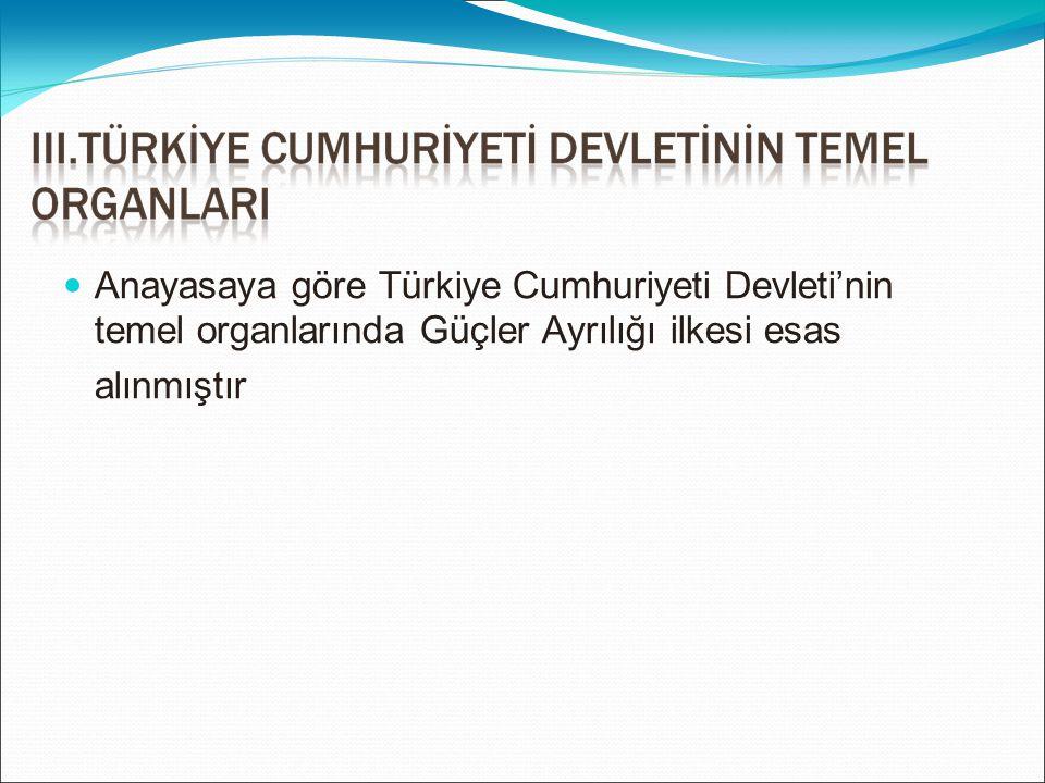 Anayasaya göre Türkiye Cumhuriyeti Devleti'nin temel organlarında Güçler Ayrılığı ilkesi esas