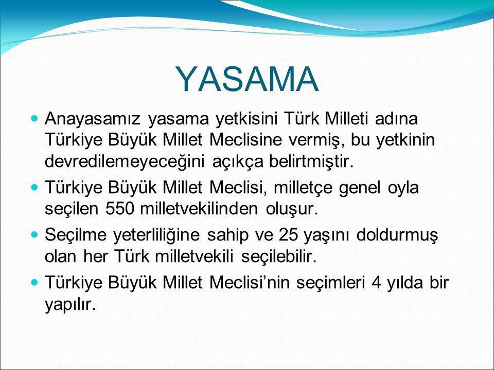 YASAMA Anayasamız yasama yetkisini Türk Milleti adına Türkiye Büyük Millet Meclisine vermiş, bu yetkinin devredilemeyeceğini açıkça belirtmiştir.