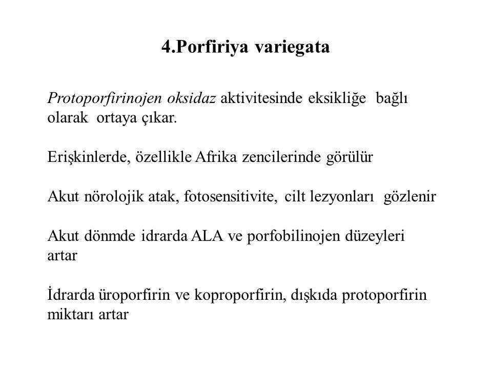 4.Porfiriya variegata Protoporfirinojen oksidaz aktivitesinde eksikliğe bağlı olarak ortaya çıkar.
