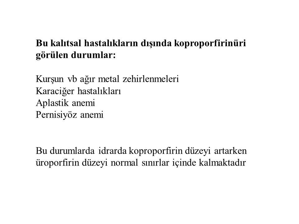 Bu kalıtsal hastalıkların dışında koproporfirinüri görülen durumlar: