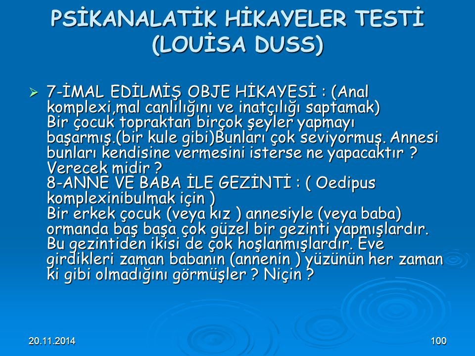 PSİKANALATİK HİKAYELER TESTİ (LOUİSA DUSS)