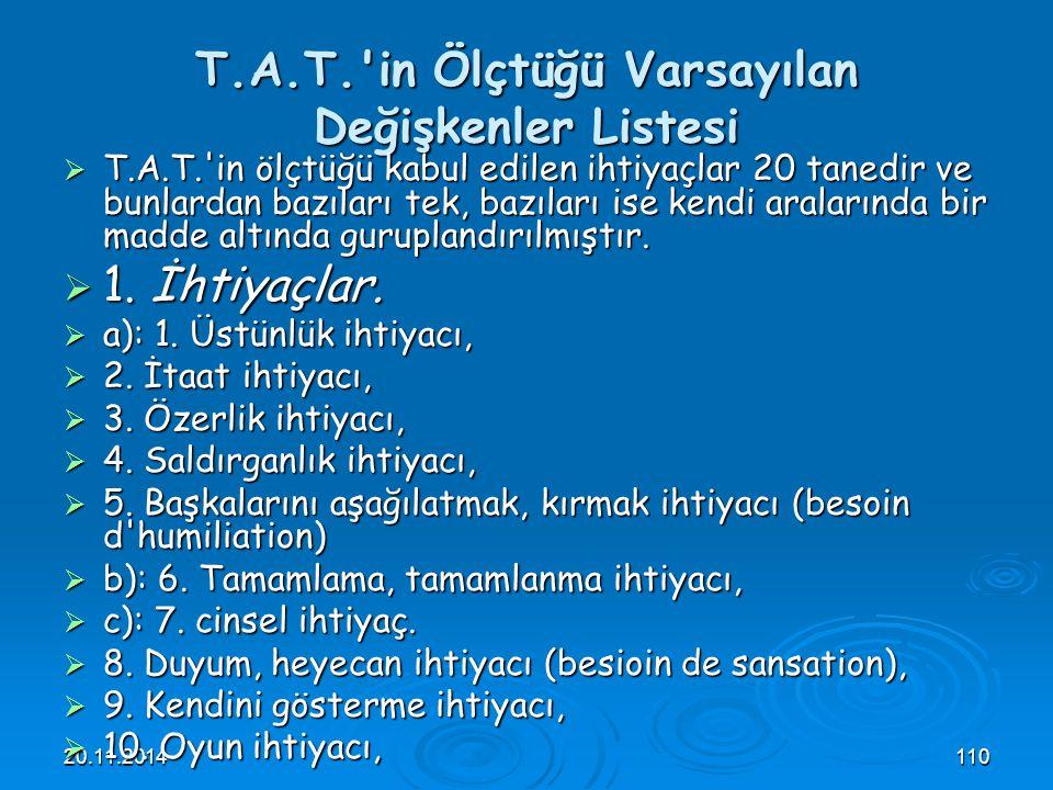 T.A.T. in Ölçtüğü Varsayılan Değişkenler Listesi