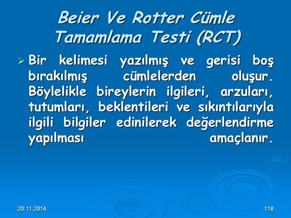 Beier Ve Rotter Cümle Tamamlama Testi (RCT)
