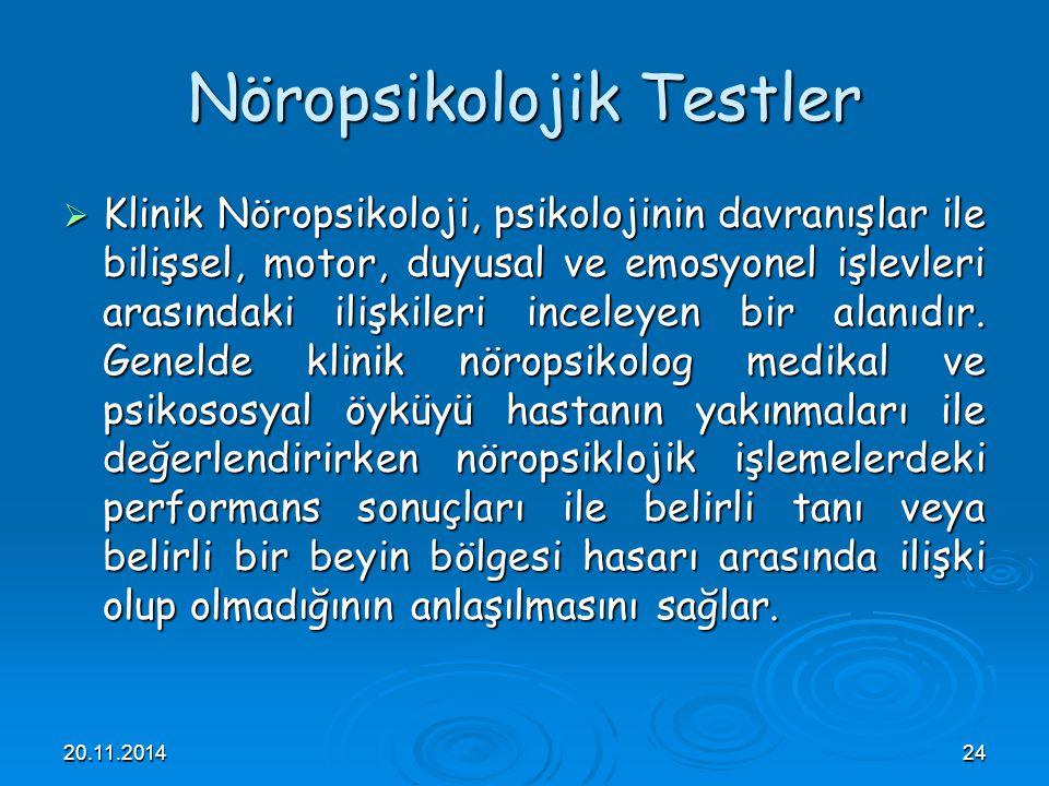 Nöropsikolojik Testler