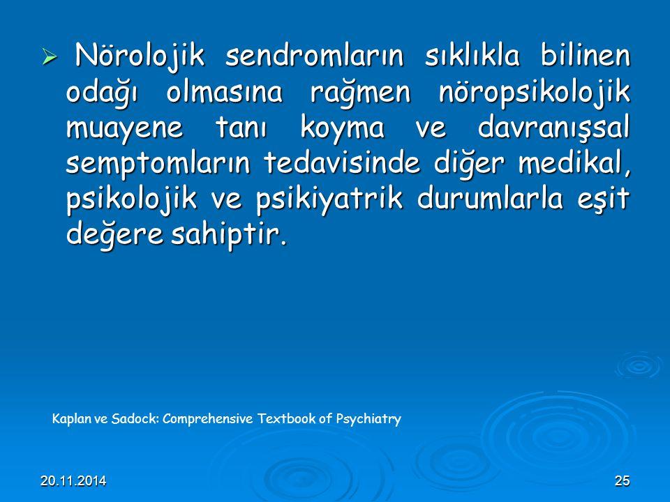 Nörolojik sendromların sıklıkla bilinen odağı olmasına rağmen nöropsikolojik muayene tanı koyma ve davranışsal semptomların tedavisinde diğer medikal, psikolojik ve psikiyatrik durumlarla eşit değere sahiptir.
