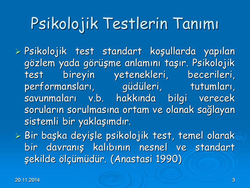Psikolojik Testlerin Tanımı