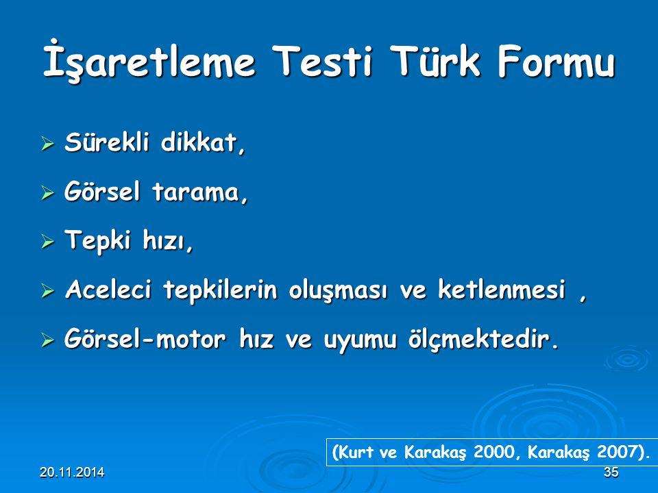İşaretleme Testi Türk Formu