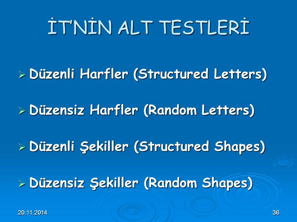 İT'NİN ALT TESTLERİ Düzenli Harfler (Structured Letters)