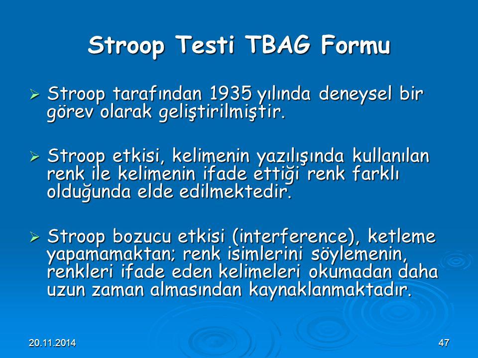 Stroop Testi TBAG Formu