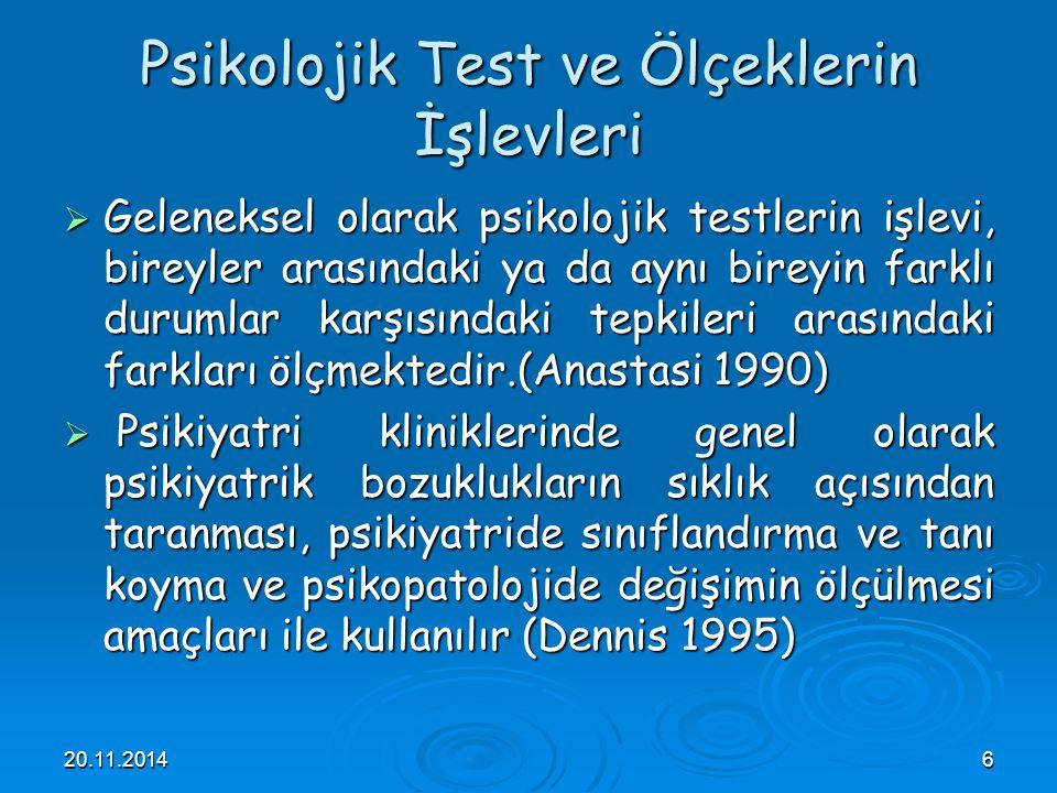 Psikolojik Test ve Ölçeklerin İşlevleri