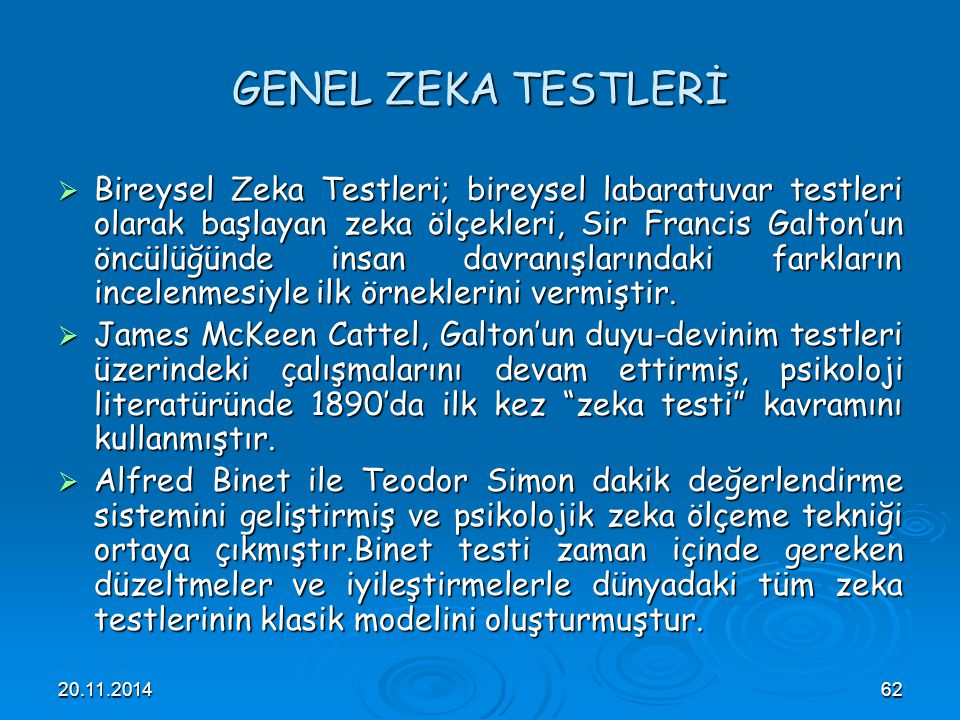 GENEL ZEKA TESTLERİ