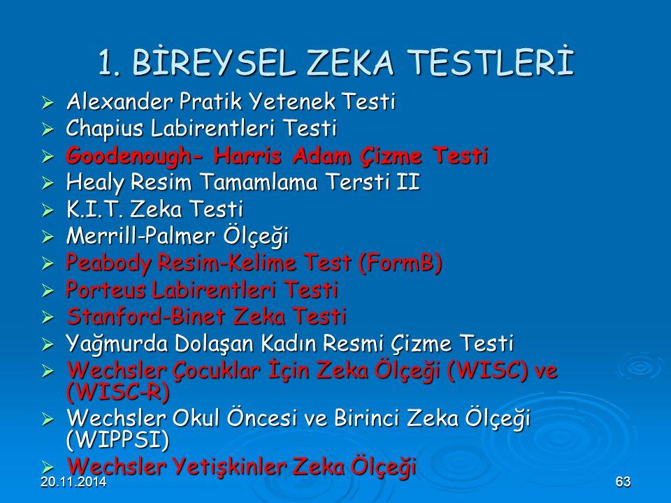 1. BİREYSEL ZEKA TESTLERİ
