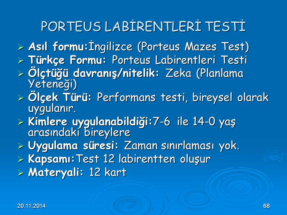 PORTEUS LABİRENTLERİ TESTİ