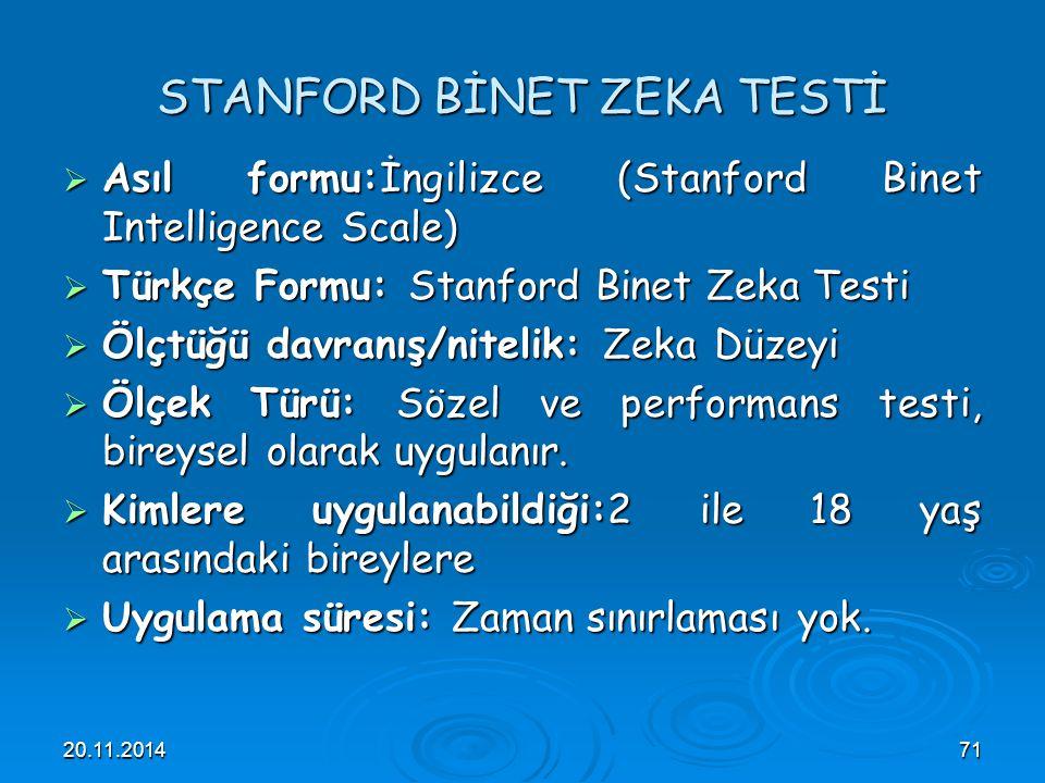 STANFORD BİNET ZEKA TESTİ