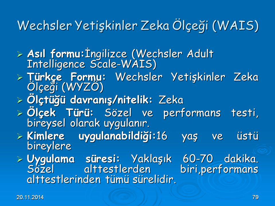 Wechsler Yetişkinler Zeka Ölçeği (WAIS)