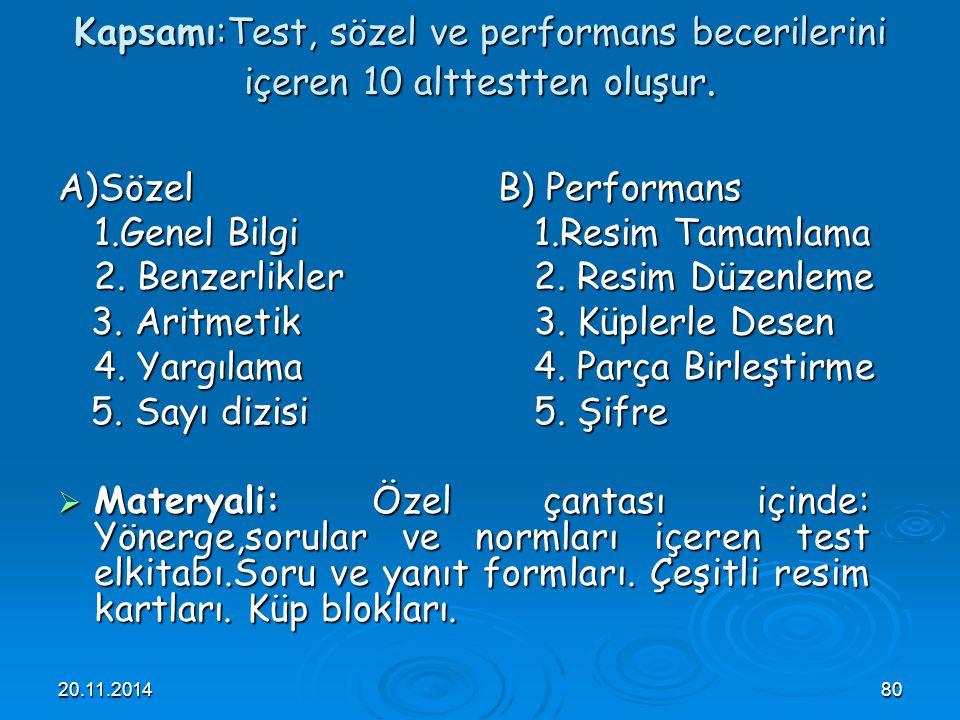 Kapsamı:Test, sözel ve performans becerilerini içeren 10 alttestten oluşur.