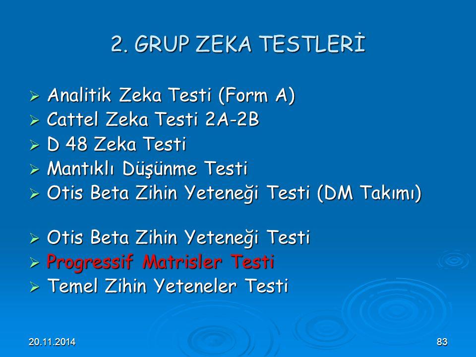 2. GRUP ZEKA TESTLERİ Analitik Zeka Testi (Form A)