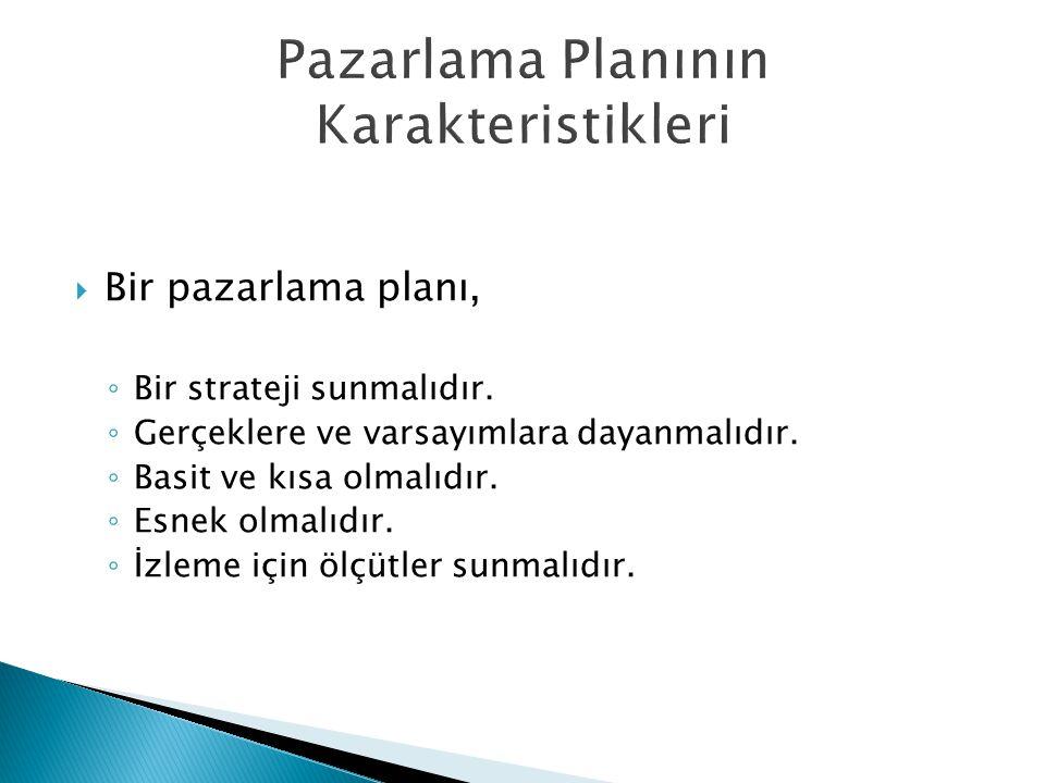 Pazarlama Planının Karakteristikleri