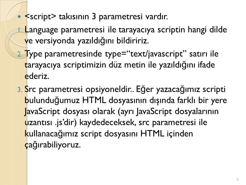 <script> takısının 3 parametresi vardır.