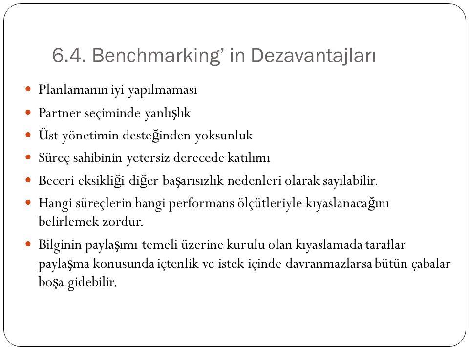 6.4. Benchmarking' in Dezavantajları
