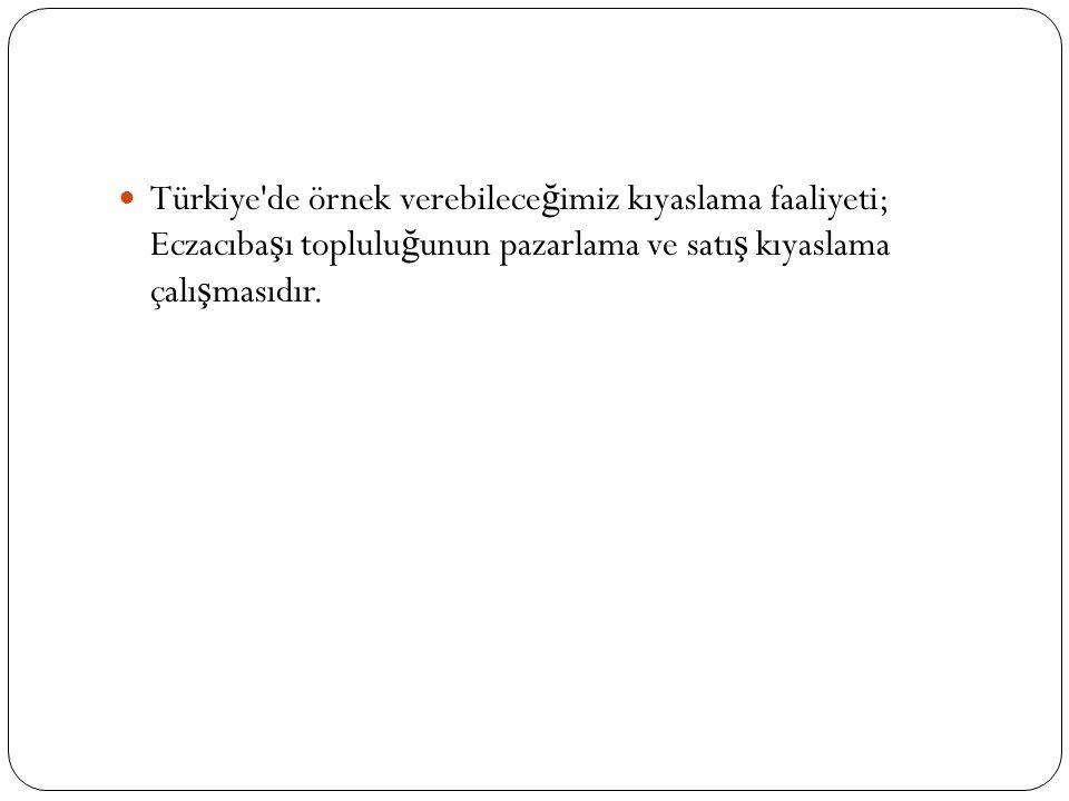 Türkiye de örnek verebileceğimiz kıyaslama faaliyeti; Eczacıbaşı topluluğunun pazarlama ve satış kıyaslama çalışmasıdır.