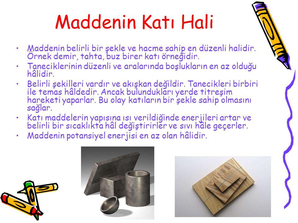 Maddenin Katı Hali Maddenin belirli bir şekle ve hacme sahip en düzenli halidir. Örnek demir, tahta, buz birer katı örneğidir.