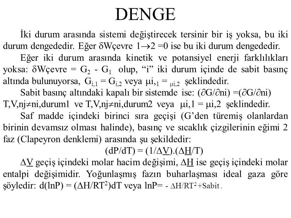 DENGE İki durum arasında sistemi değiştirecek tersinir bir iş yoksa, bu iki durum dengededir. Eğer Wçevre 12 =0 ise bu iki durum dengededir.