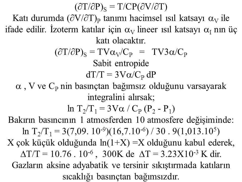 (T/P)S = T/CP(V/T)