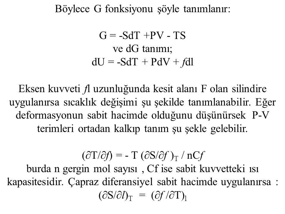 Böylece G fonksiyonu şöyle tanımlanır: G = -SdT +PV - TS ve dG tanımı;