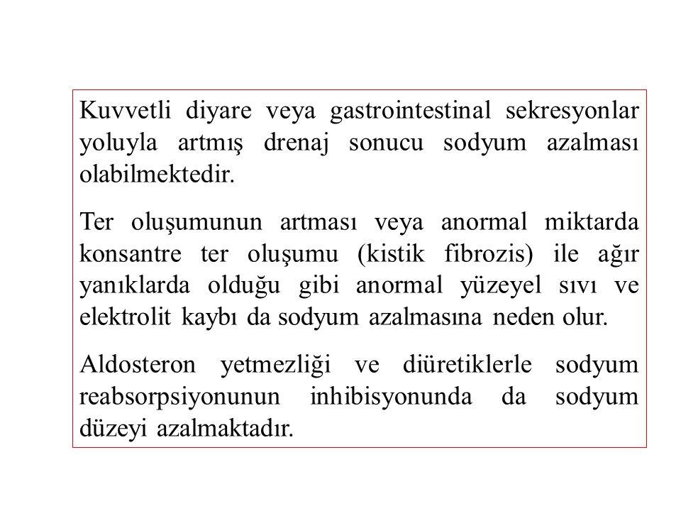 Kuvvetli diyare veya gastrointestinal sekresyonlar yoluyla artmış drenaj sonucu sodyum azalması olabilmektedir.