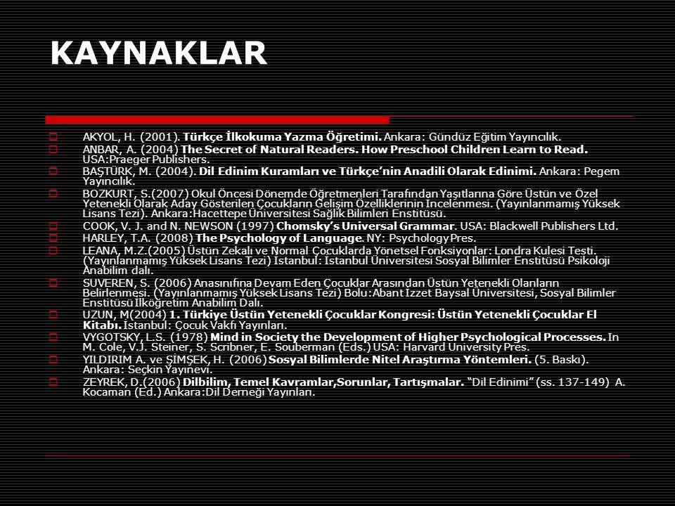 KAYNAKLAR AKYOL, H. (2001). Türkçe İlkokuma Yazma Öğretimi. Ankara: Gündüz Eğitim Yayıncılık.