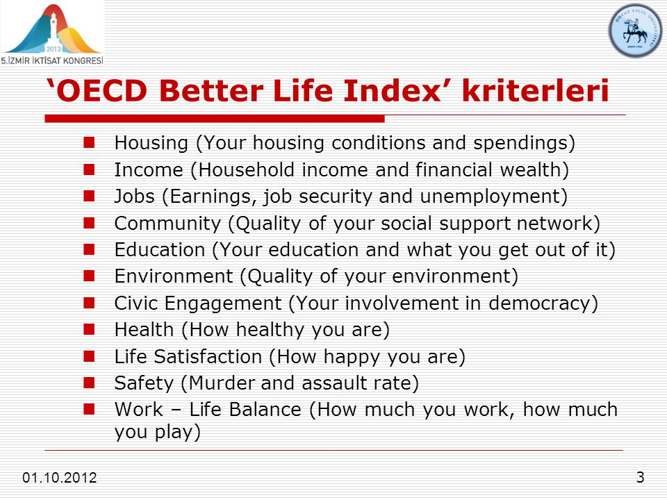'OECD Better Life Index' kriterleri