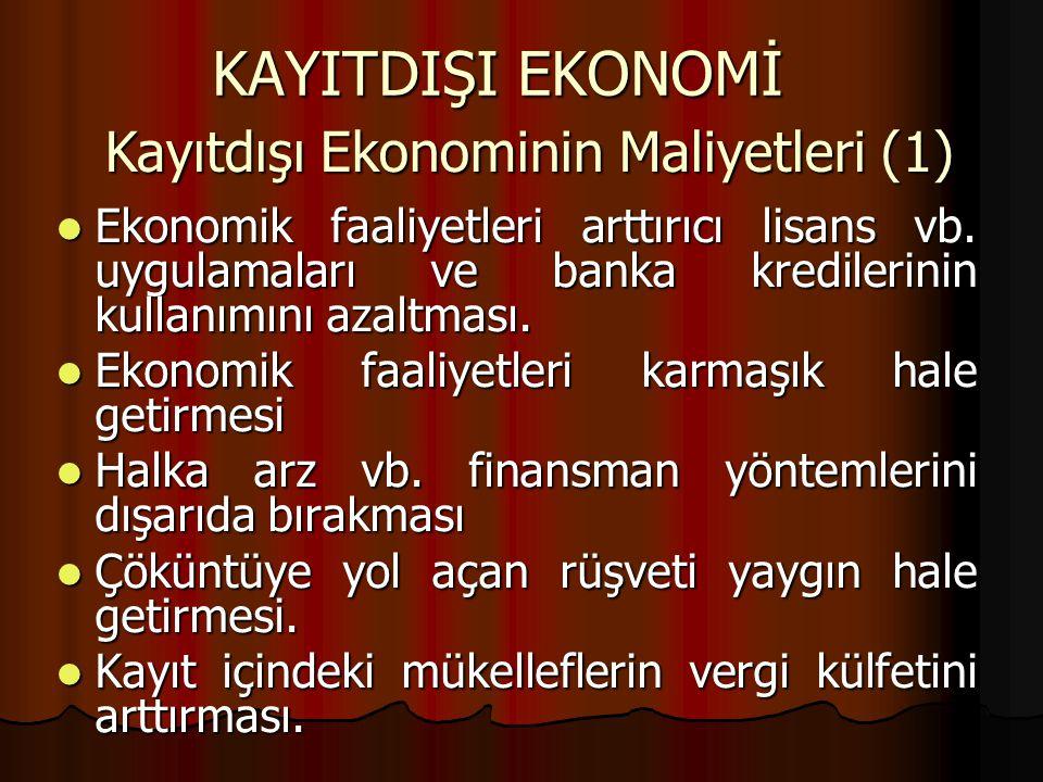 KAYITDIŞI EKONOMİ Kayıtdışı Ekonominin Maliyetleri (1)