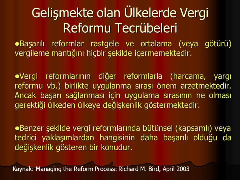 Gelişmekte olan Ülkelerde Vergi Reformu Tecrübeleri