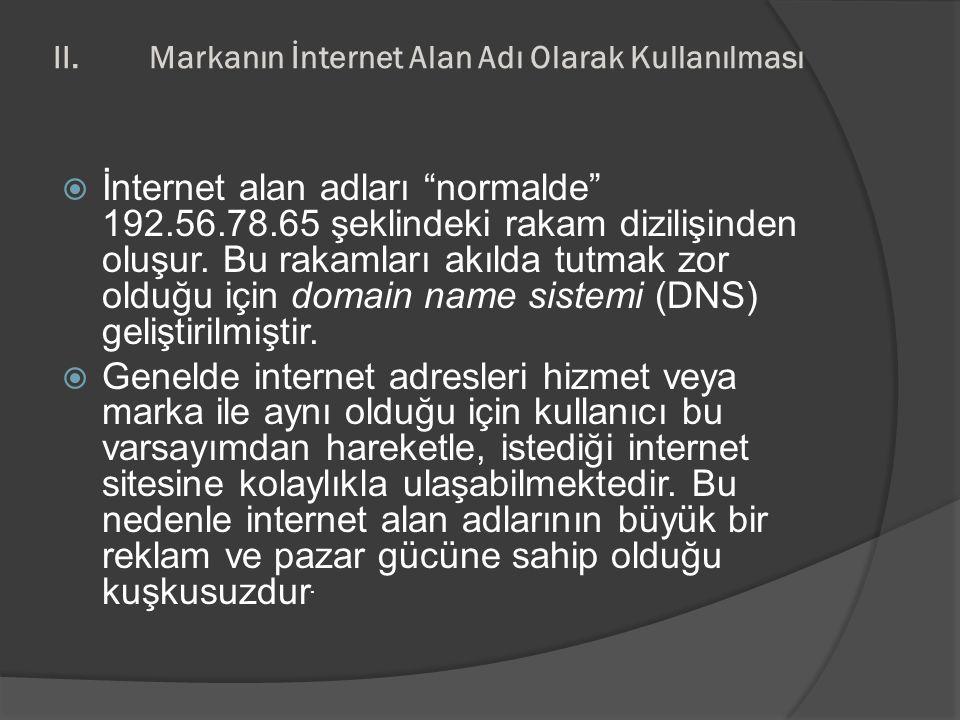 II. Markanın İnternet Alan Adı Olarak Kullanılması