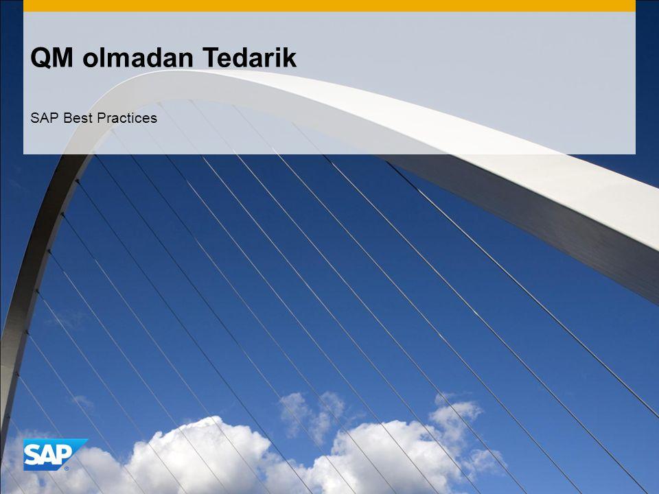 QM olmadan Tedarik SAP Best Practices