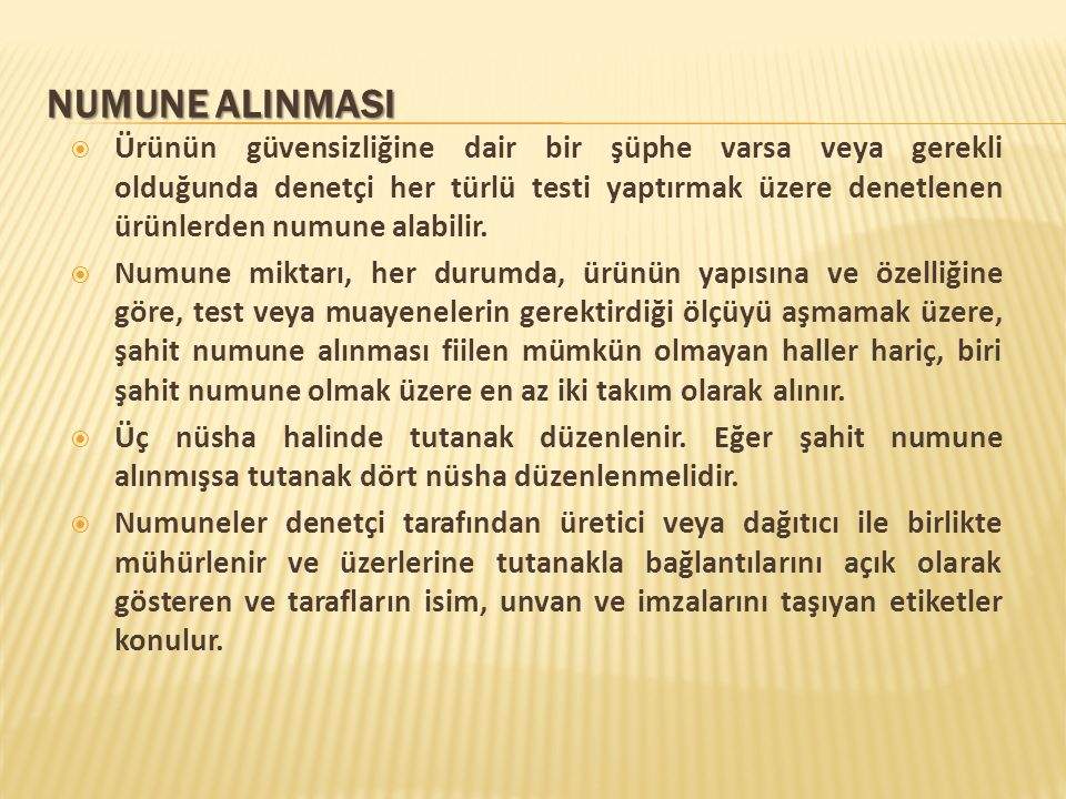 NUMUNE ALINMASI