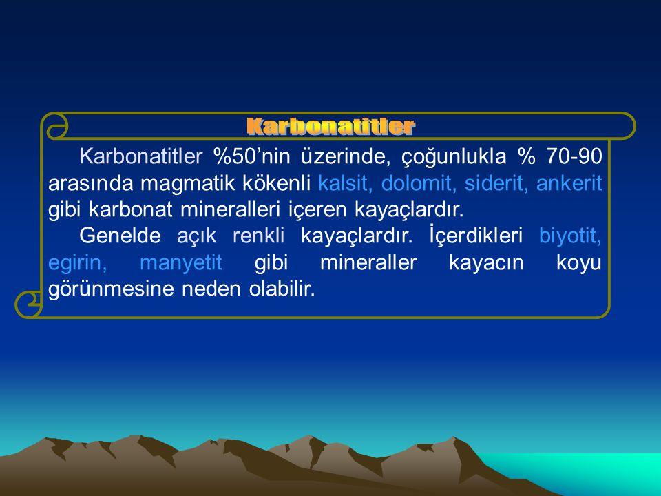 Karbonatitler %50'nin üzerinde, çoğunlukla % 70-90 arasında magmatik kökenli kalsit, dolomit, siderit, ankerit gibi karbonat mineralleri içeren kayaçlardır.
