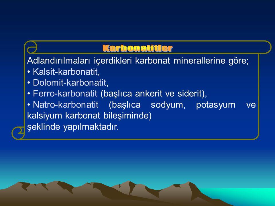Adlandırılmaları içerdikleri karbonat minerallerine göre;