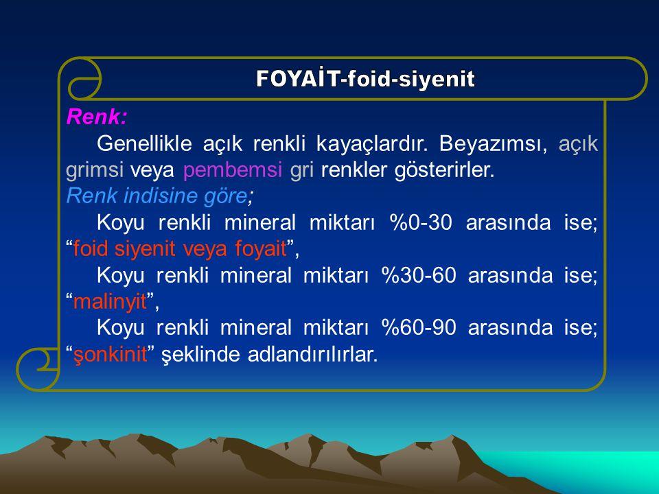 Koyu renkli mineral miktarı %30-60 arasında ise; malinyit ,