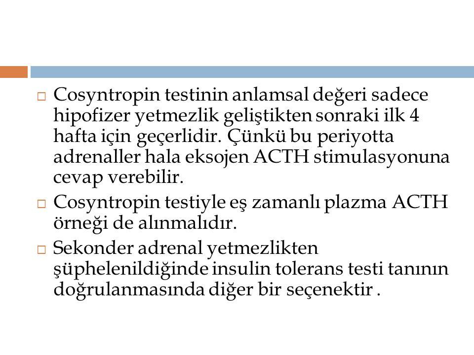 Cosyntropin testinin anlamsal değeri sadece hipofizer yetmezlik geliştikten sonraki ilk 4 hafta için geçerlidir. Çünkü bu periyotta adrenaller hala eksojen ACTH stimulasyonuna cevap verebilir.