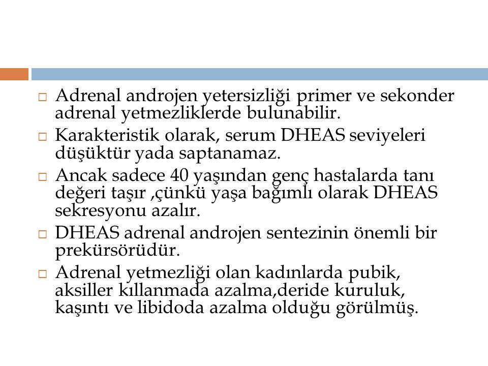 Adrenal androjen yetersizliği primer ve sekonder adrenal yetmezliklerde bulunabilir.