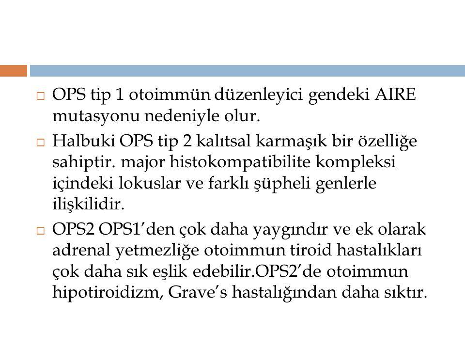 OPS tip 1 otoimmün düzenleyici gendeki AIRE mutasyonu nedeniyle olur.