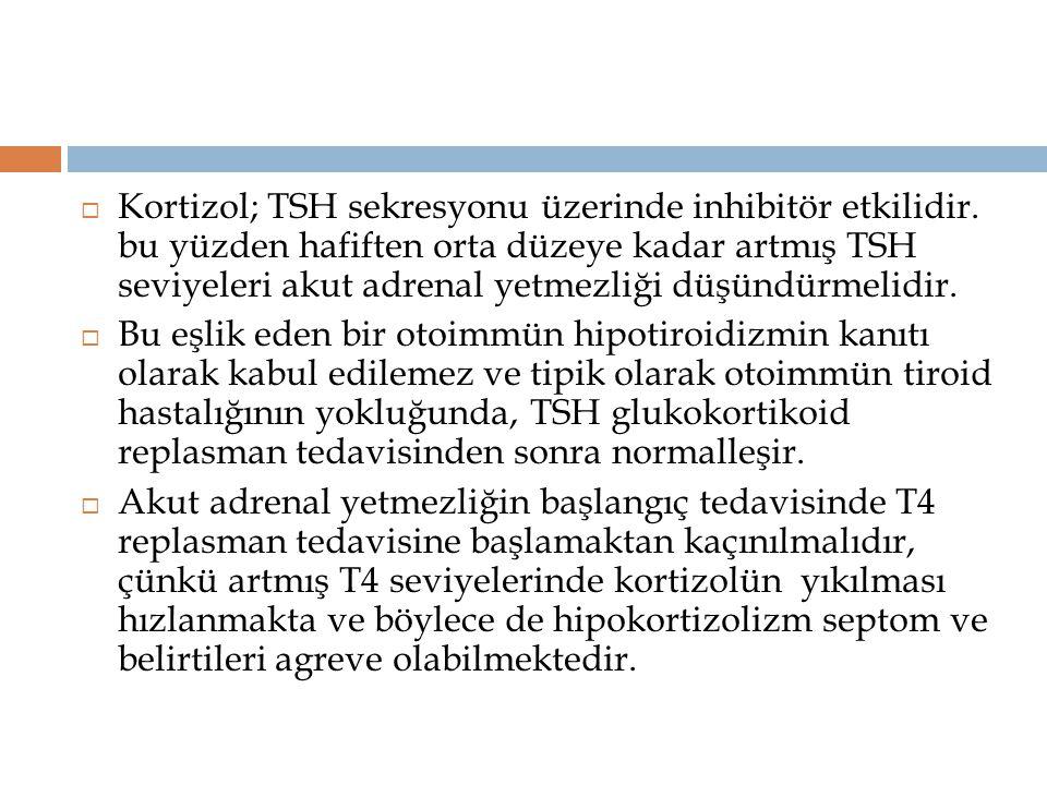 Kortizol; TSH sekresyonu üzerinde inhibitör etkilidir